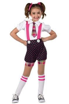 Style# 17140 HEAD OF THE CLASS White spandex, polka dot and plaid foil printed spandex short unitard with attached tie and cerise spandex suspenders. Button applique trim. Socks and ribbons for hair included. XSC-XLC