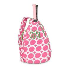 Monogrammed Quilted Tennis Backpack- Pink Lots o Dots ($36.95)