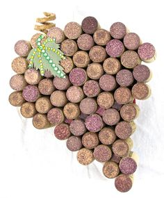 """Wine Cork """"Grapes on a Vine"""" Accented with a Hand-Cut Paper Leaf with Rhinestone Details and Hand-Carved Corkscrew Cork Stem"""