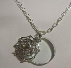 Rhinestone Spider Web Magnifying Glass Pendant Necklace | jenstarr - Jewelry on ArtFire