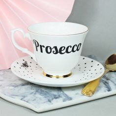 'Prosecco' Tea Cup And Saucer. An original and unique piece of functional art, lovingly designed and made here in the UK using the finest bone china. #ValentinesDay #Prosecco