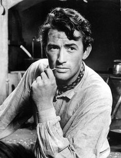 A young and rugged Gregory Peck.