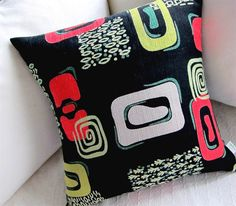 Retro Pillow Cover -- 1950s Cortez Pattern Vintage Barkcloth Black, Lime, Fire Red  - Many Sizes Available