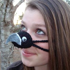 Black Hawk Bird Nose Warmer Nose Cozy Crocheted by auntmartymadeit Black Hawk Bird, Free Funny Pictures, Funny Images, Funny Photos, Penguin Halloween Costume, Nose Warmer, Honey Bee Hives, Unisex, Irish Crochet