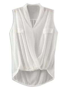 White V-neck Wrap Ruched Sleeveelss Chiffon Blouse