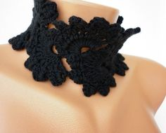 Black Queen Anne's Lace Scarf  Choker Necklace  Neckwarmer  Cowl  Crochet  Gift, Her, Teacher Christmas. $20.00, via Etsy.