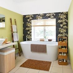 asian bathroom with bamboo wallpaper
