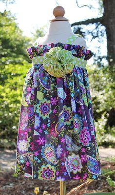 """Cute flower accent. Blakely's - """"Paisley Twist"""" Jo Jo Dress, Pattern by Olive Ann Designs (6-22-12)"""