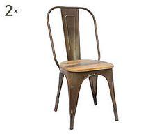 Set di 2 sedie in metallo e legno Design moro