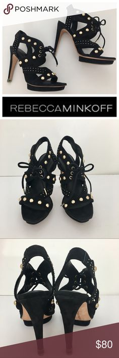 REBECCA MINKOFF Black Suede Platforms Heel ❤️ REBECCA MINKOFF Black Suede Platforms Heel ❤️  Size 6 / 4.5 inch Heel Height / 0.5 Platform /  Upper:  Suede Leather / Open Toe / Heel has protection cover. /Gorgeous !! /Perfect for any Style!! / Good Condition!! Rebecca Minkoff Shoes Platforms