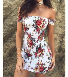 Women Sexy Off Shoulder Floral Bodycon Dress cute outfits for girls 2017 Tight Dresses, Sexy Dresses, Cute Dresses, Short Dresses, Fashion Dresses, Mini Dresses, Party Dresses, Fashion Clothes, Fitted Dresses
