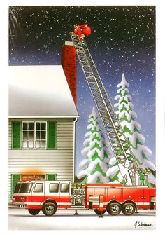 Fireman Firefighter Christmas Cards X 773 One 1 Pack Of