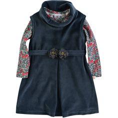 Salopete Infantil Feminino com Camiseta Floral Cinza - Brandili :: 764 Kids | Roupa bebê e infantil