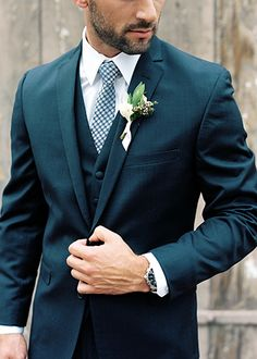 Estate on Second Wedding Groom's Wedding Suit with Blue Checkered Tie.