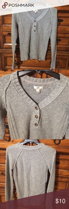 Gray sweater Gray v-neck sweater with 3 button detail. Slim fit. SO Tops