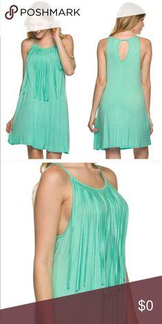 🆕 Mint Fringe Stretch Dress 👗 Above knee length dress. Spaghetti straps. Fringe accent. Peekaboo back. Rayon and spandex material. Dresses Midi