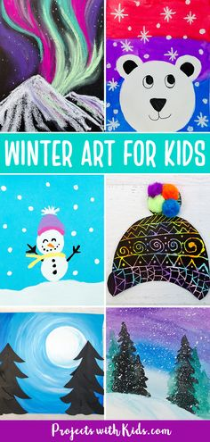 This contains: Winter art projects for kids to make. Painting ideas, chalk pastel art, watercolor painting and mixed media art projects all with a winter theme including polar bears, snowman, the northern lights, a winter hat craft and winter landscape painting ideas.