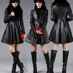 Fashion Fur Collar PU Leather Trench Coat