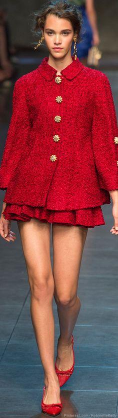 Dolce & Gabbana Spring 2014 RTW - Runway Photos - Fashion Week - Runway, Fashion Shows and Collections - Vogue Foto Fashion, Estilo Fashion, Red Fashion, Runway Fashion, High Fashion, Fashion Show, Womens Fashion, Fashion Design, Milan Fashion