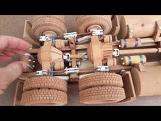 """Wheeley"" moving his load. Woodworking Shop, Woodworking Plans, Woodworking Projects, Wooden Toy Trucks, Wooden Gears, Wood Toys Plans, Wood Shop Projects, 3d Cnc, Wooden Diy"