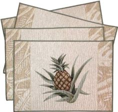 """Amazon.com: Set of 4 Shoreline Easy Breezy Tropical Pineapple Woven Tapestry Placemats 13x18"""": Kitchen & Dining"""