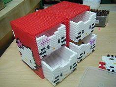 hama beads 36 colors fuse box set / perler beads for sale - Hello Kitty Hama Beads 3d, Diy Perler Beads, Perler Bead Art, Pearler Beads, Fuse Beads, Perler Bead Designs, Hama Beads Design, Pearler Bead Patterns, Perler Patterns