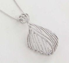 Estate Pave Diamond 18 Karat Gold Cocktail Pendant Necklace Statement Fine Jewelry $2795