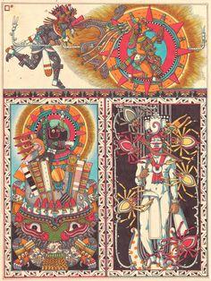 """La última escena de """"La Creación del Quinto Sol"""". Aquí, en el panel superior, Quetzalcoatl sopla sobre Tonatiuh, el sol, para ponerlo en su viaje diario a través de los cielos. Por debajo, el primer atardecer del sol, en la cual Tonatiuh esta tragado..."""