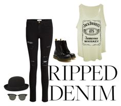 """ripped my jeans and dropped out of school"" by nissymarie ❤ liked on Polyvore featuring Frame Denim, Dr. Martens, Ray-Ban, BCBGMAXAZRIA, contest and rippedjeans"