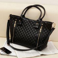 Black Retro Women Office Lady Quilted Shoulder Tote Bag Handbag Fashion Handbags Bags
