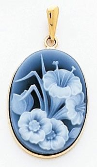 14k Gold Blue Agate Cameo Pendants – Floral Cameo Pendant