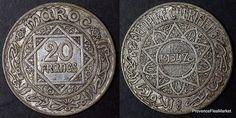 Maroc Morocco 20 francs argent silver 1347, 34€ + 4€