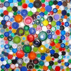Repurposed Plastic Lid Art