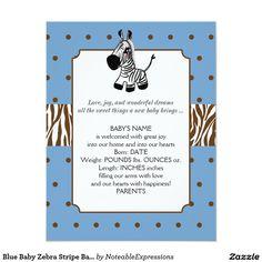 Blue Baby Zebra Stripe Baby Announcement