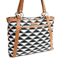 Tribal Laptop Bag in Black and White Aztec Print - Laptop Bag, Laptop Tote, Canvas and Tan Camel Colored Vegan Leather