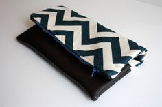 Chevron and Leather fold over clutch by FlyChicks