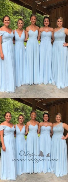 Blue Chiffon Bridesmaid Dresses, Lace Cheap Long Bridesmaid … – About Wedding Dresses Bridesmaid Dresses 2018, Lace Bridesmaids, Wedding Dresses, Different Bridesmaid Dresses, Bridesmaid Outfit, Chiffon Dress Bridesmaid, Bride Maid Dresses, Bridesmaid Ideas, Light Purple Bridesmaid Dresses