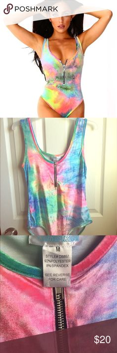 c0edc4d4f698 IHeart Raves Tie Dye Velvet Body Suit NWOT body suit. The colors in this are