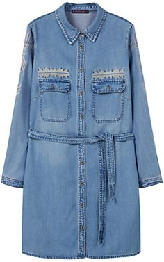 Violeta by Mango Embroidered Shirt Dress, Blue