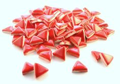 3/4 Red mosaic tiles triangles  handmade ceramics by mosaicmonkey, $9.00