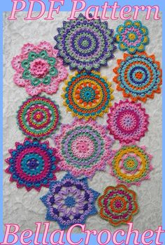 Best 12 This PDF Crochet Pattern- Mini Mandala Doilies different designs) is just one of the custom, handmade pieces you'll find in our tutorials shops. Crochet Mandala Pattern, Crochet Doilies, Crochet Flowers, Crochet Squares, Cotton Crochet, Thread Crochet, Crochet Hooks, Mini Mandala, Knitting Patterns