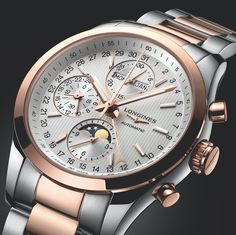 Longines Watch Co.‏ The #Longines Conquest Classic Moonphase houses a self-winding mechanical chronograph movement And is available with various case variations