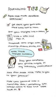 journaling tips - I especially like the writing of thoughts in bubbles... write down what you were thinking about the recipe :-D And let others write their favorite recipes to your journal