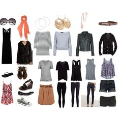 Travel packing list - love that it's got so much black and gray! I would swap out blues and greens for pinks and oranges, but otherwise I really like this.