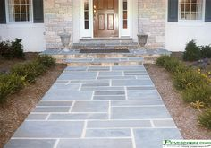 blue stone and red brick patio | Interlocking Pavers Patios, Paver Walkways, Paver Sidewalks, Paver ...