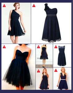 Navy blue bridesmaid dresses. I like the one with one shoulder and flowers