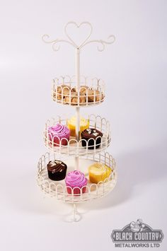 Vintage style cake stand, cupcake stand for wedding receptions and special events. beautiful sweetheart design in Chantilly cream.