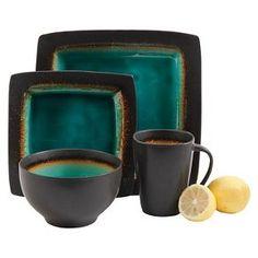 Gibson Select Ocean Paradise Dinnerware 16-pc. Set - Jade Crackle  sc 1 st  Pinterest & NEW 16 pc dinnerware set jade green black square dishes creamic ...