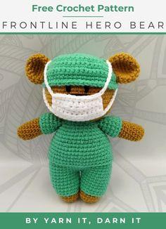 A free crochet pattern of the front line hero bear. Do you also want to crochet this bear? Read more about the Free Crochet Pattern Frontline Hero Bear. Crochet Bear Patterns, Crochet Motifs, Crochet Teddy Bears, Mandala Crochet, Crochet Leaves, Loom Patterns, Doll Amigurumi Free Pattern, Crochet Doll Pattern, Amigurumi Toys