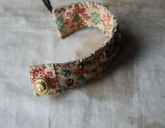 Field of Wildflowers a Fiber Art Cuff in by LaTouchables on Etsy